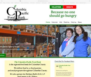 Columbia Pacific Food Bank Website developed by Online Marketing Resources
